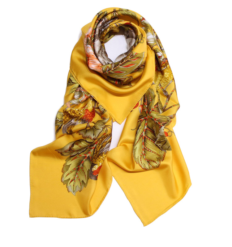 Floral Scarf Women Yellow Blue Pure Twill Silk Scarves Large Square Shawl Wraps Brand Design 140*140cm Handmade Curling