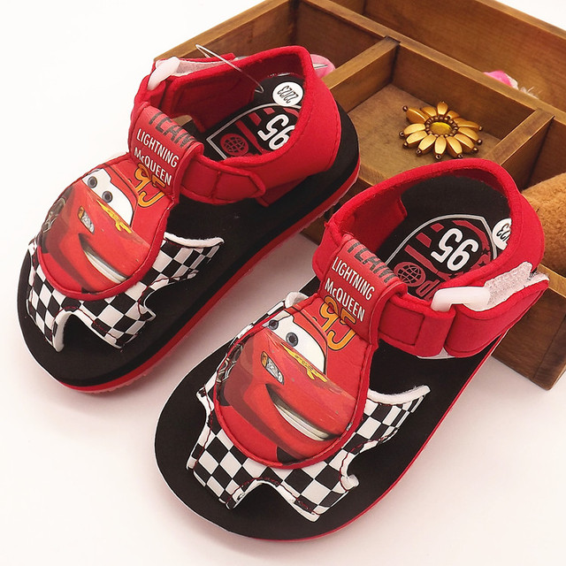 2016 Free shipping Summer Car Children Sandals Shoes Beach Sandals Non-slip Drag Cars Carton Boys girls Slipper Baby home shoes
