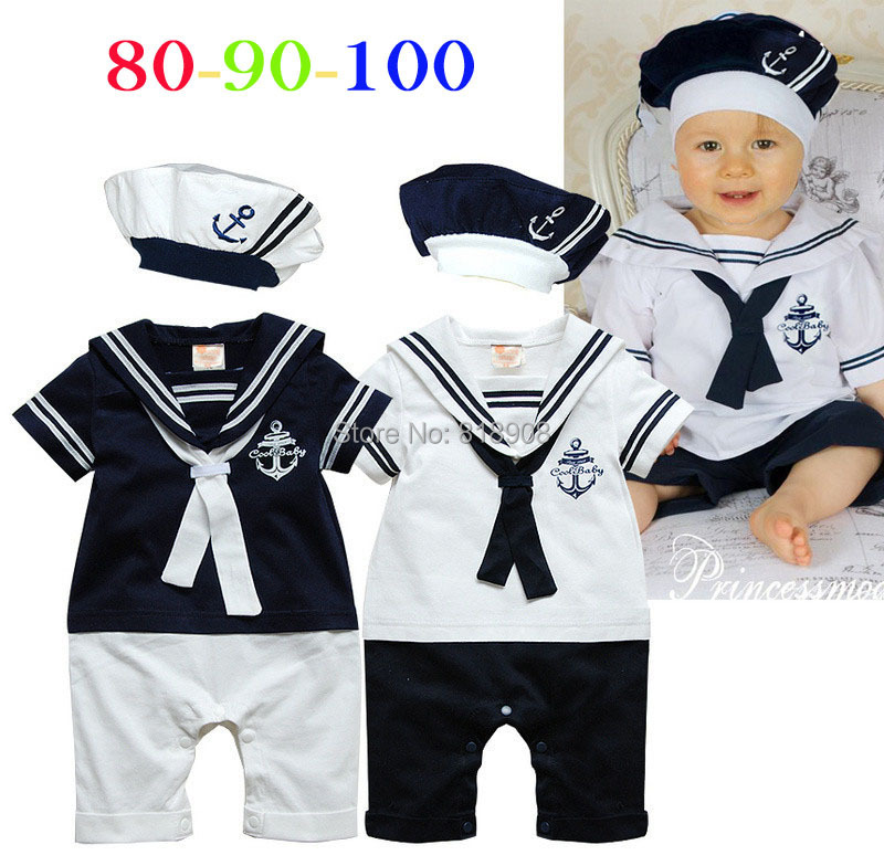 Navy sailor style rompers baby boy toddlers one piece with hat navy costume baby jumpsuit baby one-piece clothing