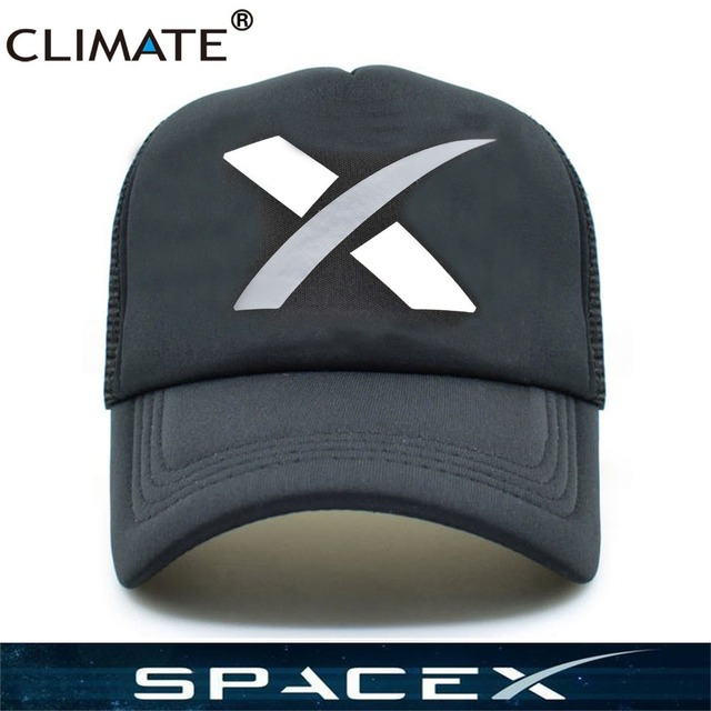d73c64f57 CLIMATE Hot Spacex Space X Black Summer Cool Caps UFO Outer Space Rocket  Musk Fans Baseball Mesh Net Trucker Caps Hat Men Women