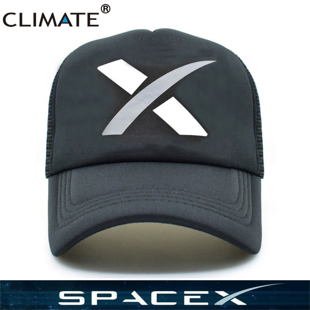 CLIMATE Hot Spacex Space X Black Summer Cool Caps UFO Outer Space Rocket Musk Fans Baseball Mesh Net Trucker Caps Hat Men Women
