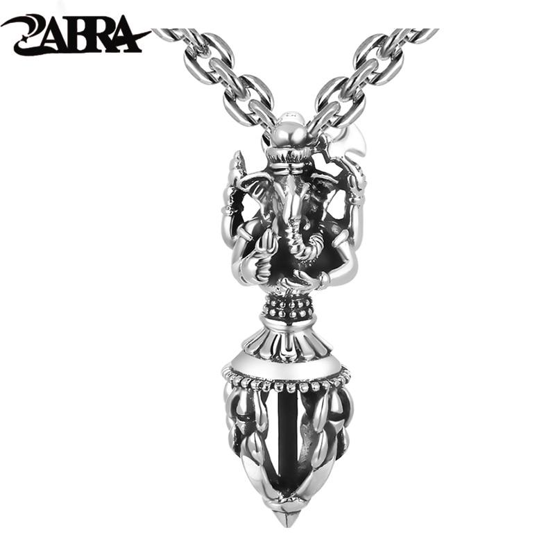 ZABRA India Ganesha Buddha Pendant Necklace 925 Sterling Silver God of Wealth Man Vintage Religion Pendant