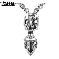 ZABRA India Ganesha Buddha Pendant Necklace 925 Sterling Silver God of Wealth Man Vintage Religion Pendant Biker Jewelry