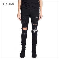 HEYGUYS Men's black white patch holes ripped jeans Plus size slim fit skinny distressed stretch denim pants