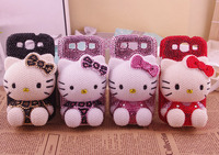 Hello Kitty Voor i9600 Note2 Note3 note4 S4 S3 N9100 i9500 cartoon bling diamant 3D strass leuke mooie Case