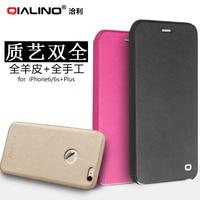 Voor iphone 6 plus 5.5 ''originele qialino merk natuurlijke lamsvacht geitshuid skin lederen case voor iphone 6s plus flip Cover