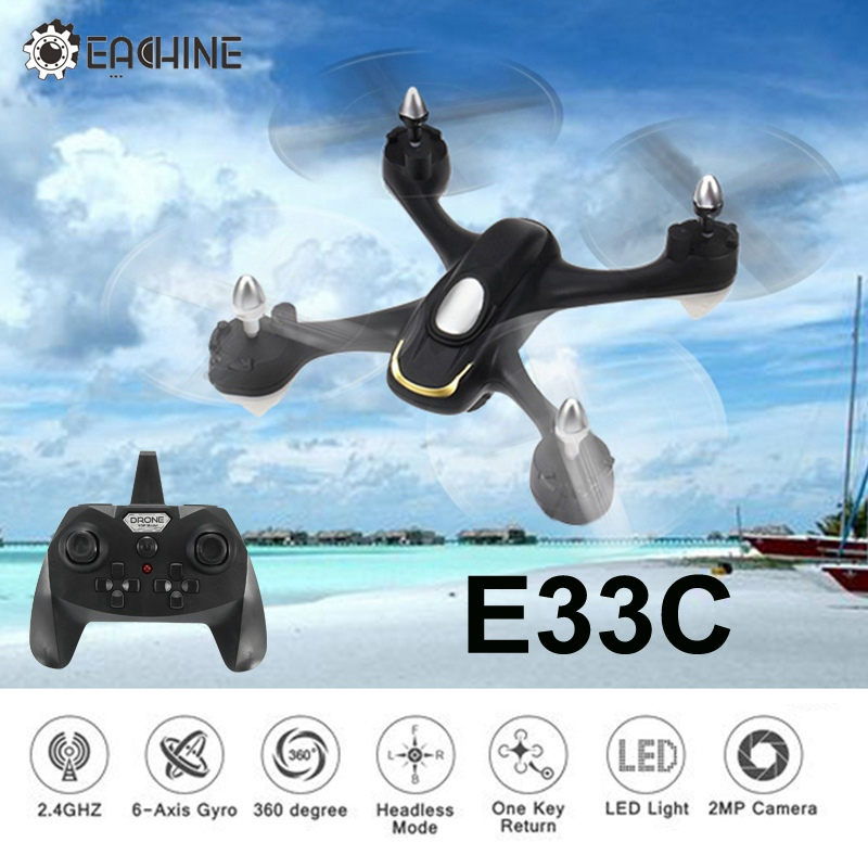Eachine E33C 2.4G 6CH With 2MP HD Camera Headless Mode LED Night Flight RC Drone Quadcopter Helicopter Toy RTF VS E33 E33W racer 250 fpv drone with i6 2 4g 6ch transmitter 7 inch 32ch monitor hd camera rc drone quadcopter vs eachine