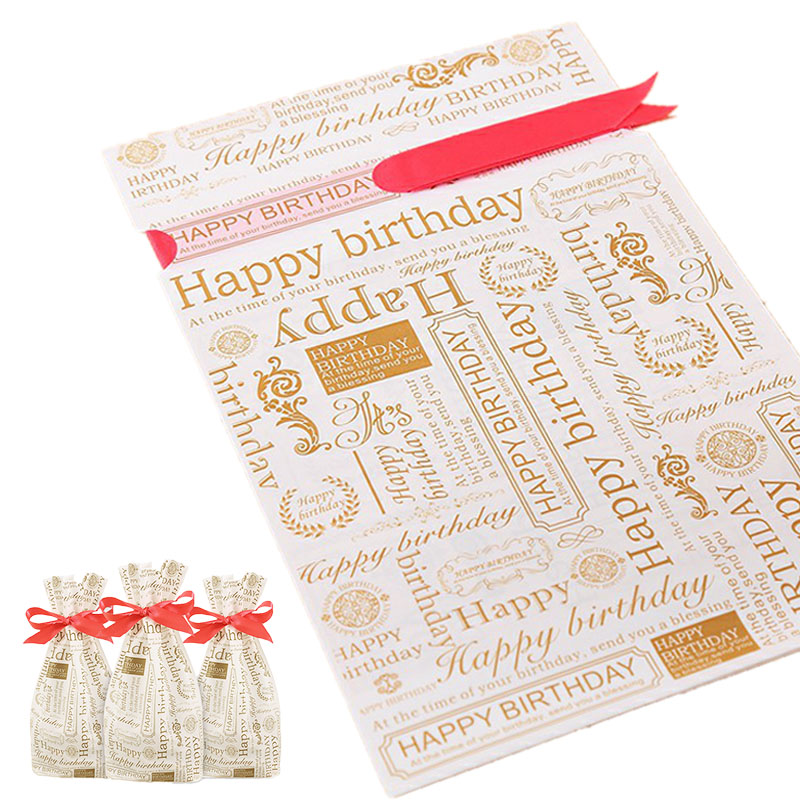 5/10pcs Newspaper Pattern Happy Birthday Candy Bags Cookies Biscuit Packaging Bags Birthday Party Favors Drawable Gift Bags 8