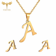 Cute A Letter Pendent Necklace Earrings Gold jewelry set for women Girls Festival Gift Fashion Costume Jewelry Sets 1pcs fashion rainbow color cute beads geometric necklace pendent for women gift party decoration