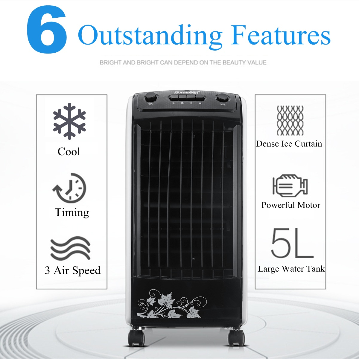 Air Conditioner 220V 65W 5L 50HZ Conditioning Fan Hum High-density Powerful Wind Environmental Protection Timing Portable