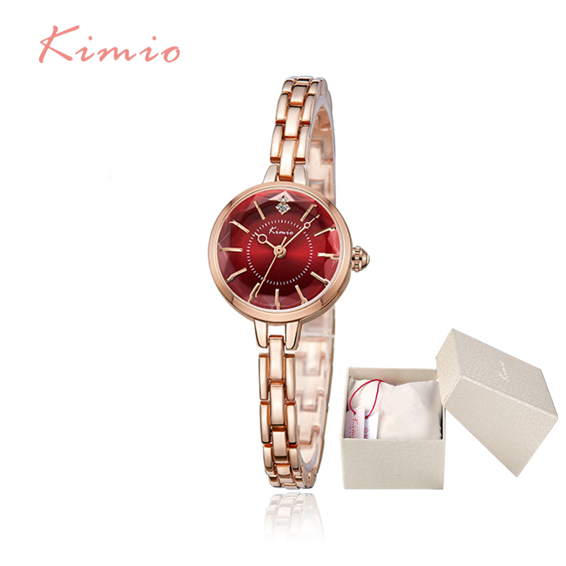 Kimio New Ladies Watch Stainless Steel Clock Fashion Waterproof Bracelet Rhinestone Relogio Feminino Dropship Support With Box kimio s k458l