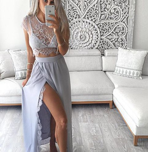 Two Pieces Beach Chiffon Long See Through Prom Dresses 2016 Robe Bal De  Promo Side Slit Party Lace Formal Occasion Gowns e685c5715014