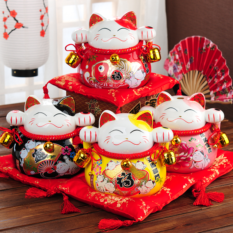 2017 New Arrival home decorate craft Ceramic Japanese Lucky Cat Money Box Piggy Bank Crafts Fortune
