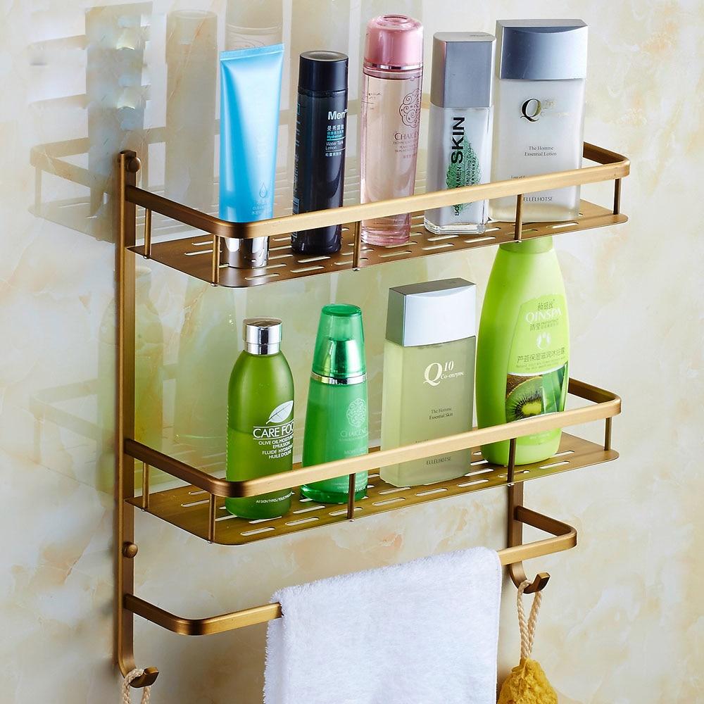 Bathroom wall mounted chrome brass towel rack shelf towel bar w hooks - Aliexpress Com Buy Antique Brass Double Tier Bathroom Shelves Wall Mounted Bath Storage Holder With Towel Bar Hooks From Reliable Shelf Bra Tank Tops