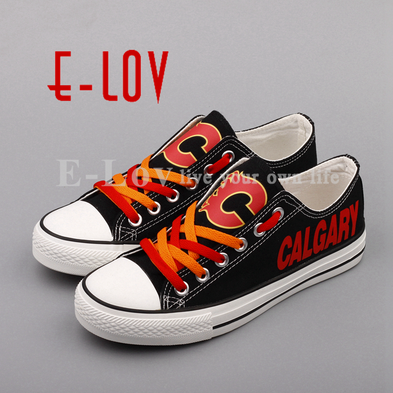 E-LOV Fashion Calgary Flames Black Shoes Fans Graffiti Summer Canvas Shoes Low Top Lace Leisure Shoes Woman Girls Big Size e lov women casual walking shoes graffiti aries horoscope canvas shoe low top flat oxford shoes for couples lovers