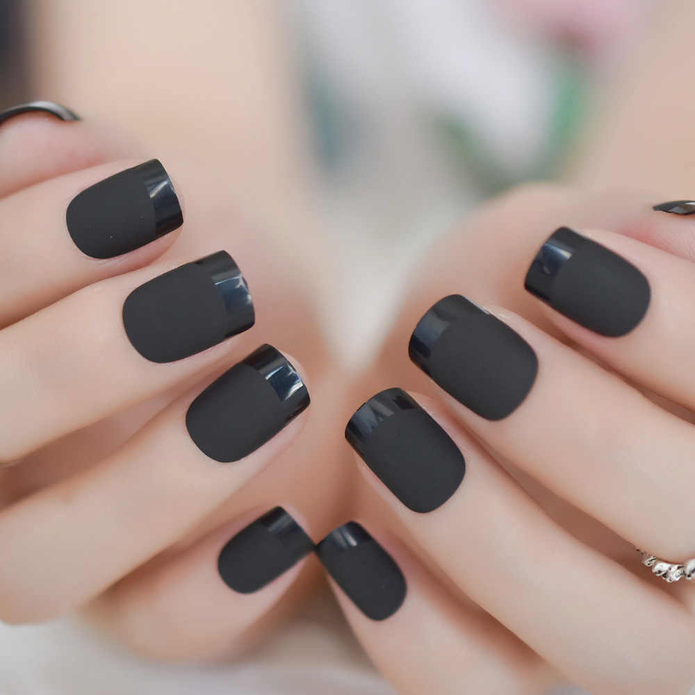 French Square Carbon Black Nails Matte Gel Layered Nails Design Glossy Stylish False Nails With Sticker 24 False Nails Aliexpress