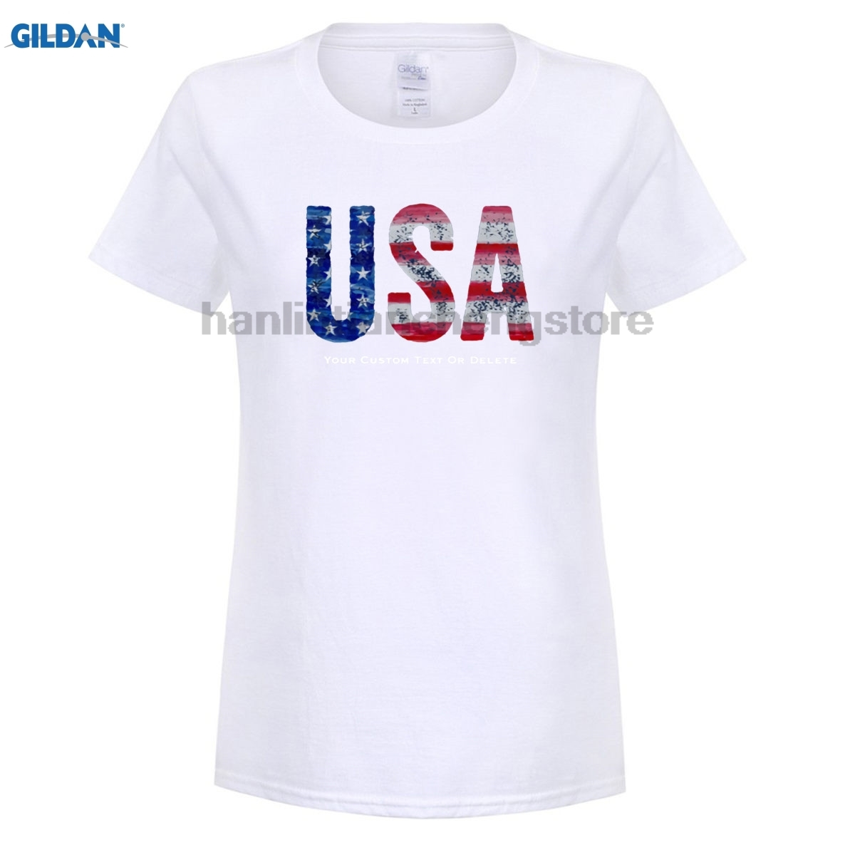 GILDAN Cool Vintage USA American Flag Custom Text T Shirt for women ...