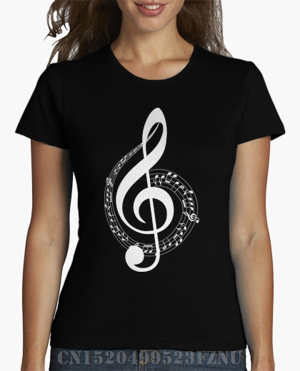 brand clothing black friday womens t shirt Treble clef Short sleeves Character Cotton kpop women Design High Quality