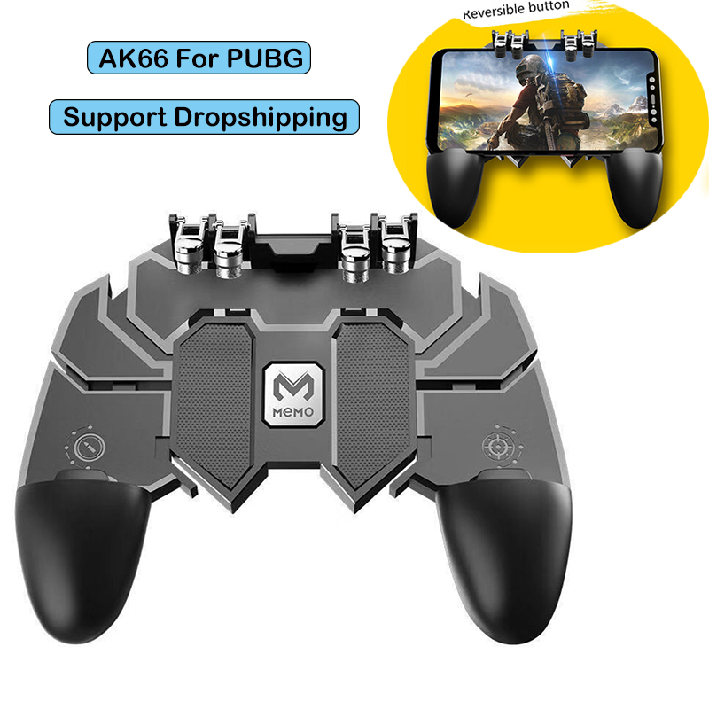 For PUBG AK66 Six Finger All-in-One Mobile Game Controller Free Fire Key Button Joystick Gamepad L1 R1 Trigger For PUBG