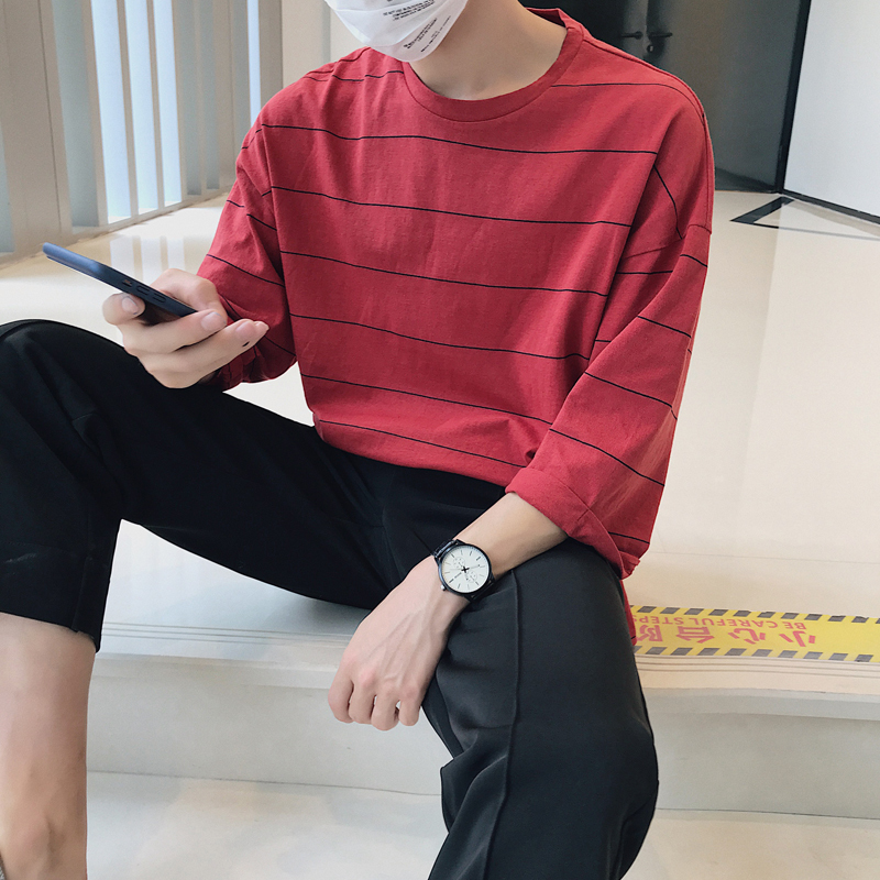 2018 Autumn New Men's Fashion Personality Simple Solid Color Loose Large Size Striped Seven-point Sleeve Round Neck T-shirt