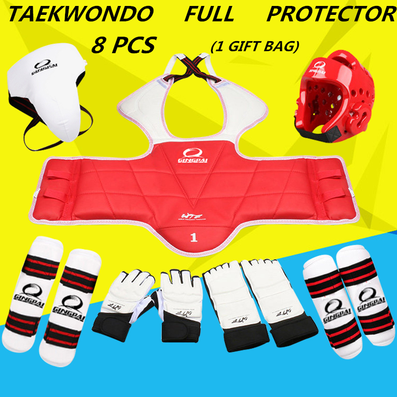 Новый для взрослых и детей тхэквондо утолщение тхэквондо WTF защиты 8 шт. тхэквондо протектор грудь защитника каратэ шлем