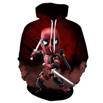 цена YOUTHUP Spring Autumn Men's 3D Hoodies Baby Deadpool Print Sweatshirts Pullovers Long Sleeve Male 3D Full Print pullovers онлайн в 2017 году