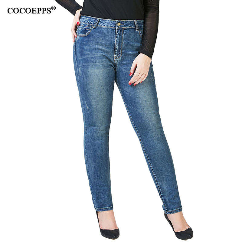 COCOEPPS Vintage Woman Demin Pencil Pants 2017 Casual Large Size High Waist Jeans 2017 Plus Size Stretch Feminino Trousers 6XL cocoepps casual denim ankle length trousers large size high waist fashion women s jeans 2017 women stretch pencil pants 5xl 6xl