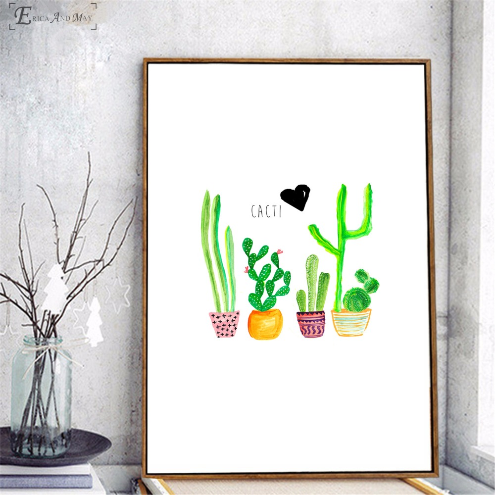 Cactus Watercolor Tropical Plants On Sale Poster Wall Painting Living Room Abstract Canvas Art Pictures For Home Decor No Frame