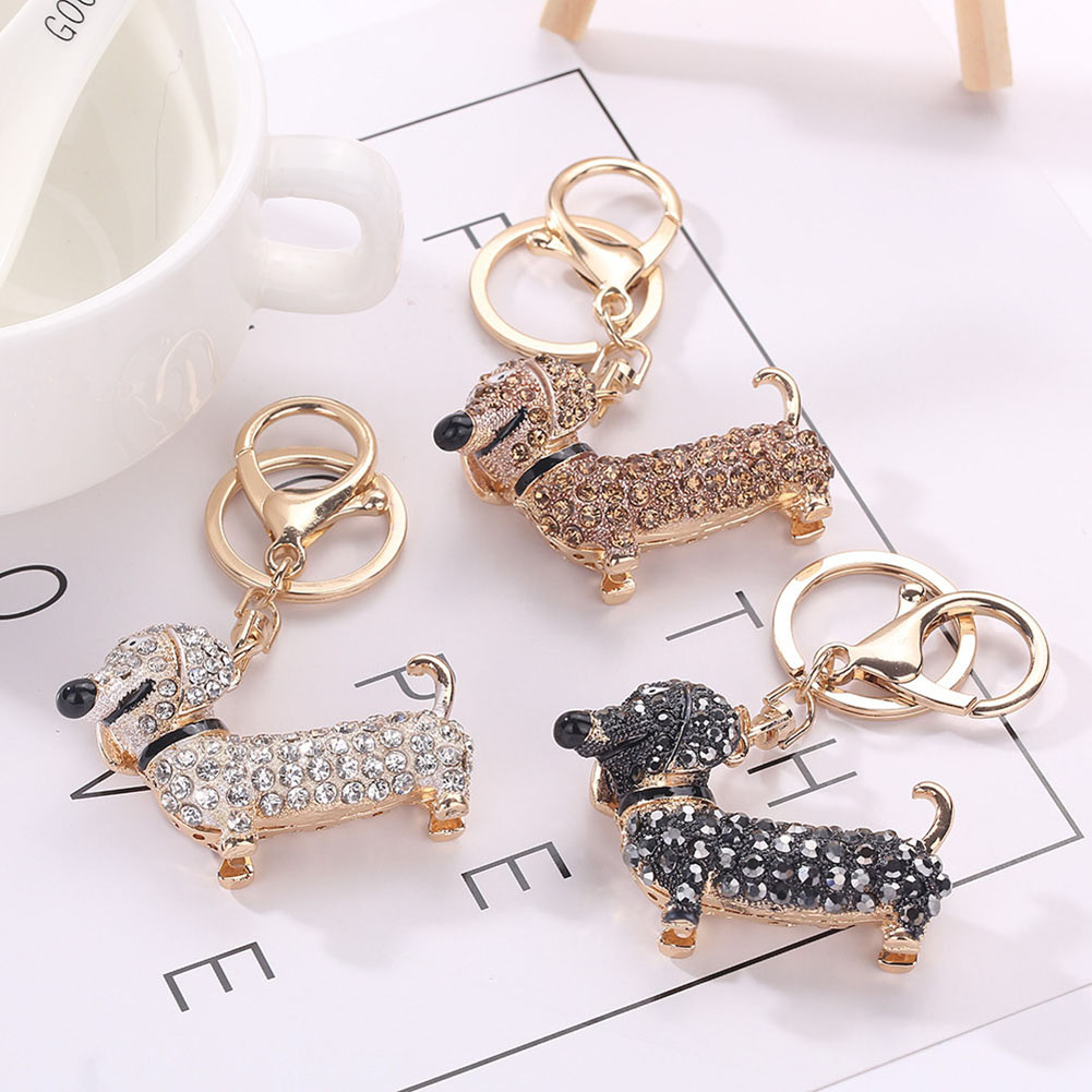 Fashion Dog Dachshund Keychain Bag Charm Pendant Keys Holder Keyring ... 21b7f4731c
