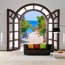 3D Wallpaper European Style Window Expansion Space