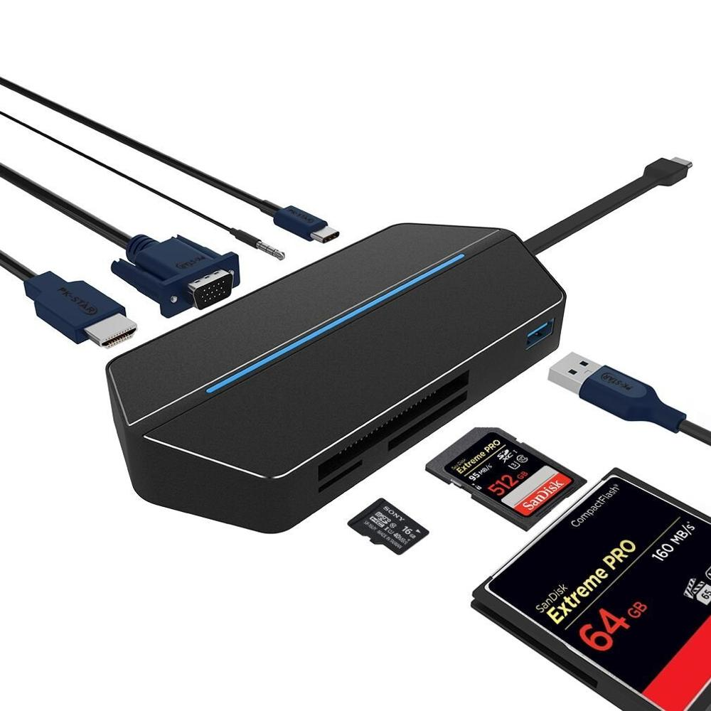 LTGEM USBC Type C to USB 3.0 8 in 1 USB-C Converter VGA HDMI Adapter Dock for MacBook GooglePixel, Huawei