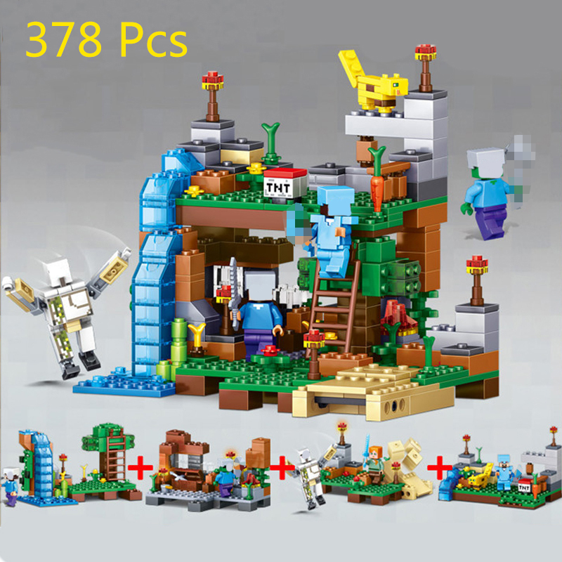 378pcs Compatible Legoe Minecrafted City Figures Building Blocks Mine World DIY Garden Bricks Blocks Educational Kids Toy my world figures toy building blocks compatible with legoinglys minecrafted city 4 in 1 diy garden bricks toy gift for kid