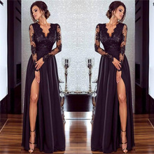 ФОТО 2018 summer woman's dress  new pattern pure color long sleeves of lace slit ceremony girl dress black  longdress party maxidress