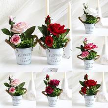 Поддельные искусственные розы горшок моделирования растений бонсай Свадебная вечеринка украшения