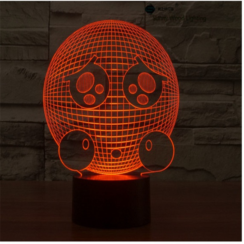Corean switch LED 3D lamp,Visual Illusion 7color changing 5V USB for laptop,Christmas cartoon toy lamp