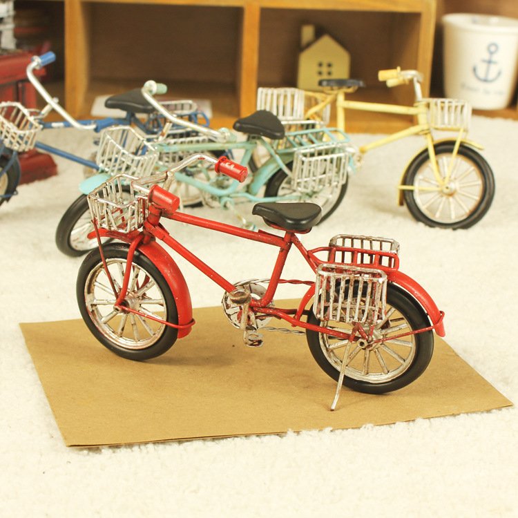 Vintage Home Decoration Iron Metal Craft Mini Bike Model Hand Made Birthday Gift Miniatures Free Shipping