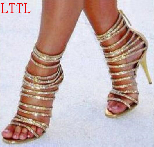 2017 New Fashion Gold Gladiator High Heel Sandals Cutout Sexy Crystal Ankle Strap Party Shoes Woman in Zipper