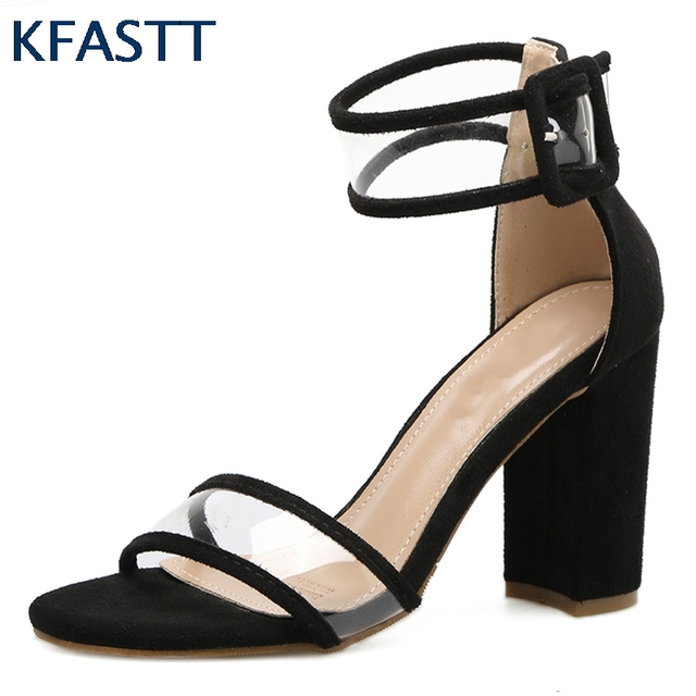 KFASTT Shoes Pumps 2018  New arrival  Women Sandals Thick High Heels Shoes Sexy Transparent Ankle Sandals