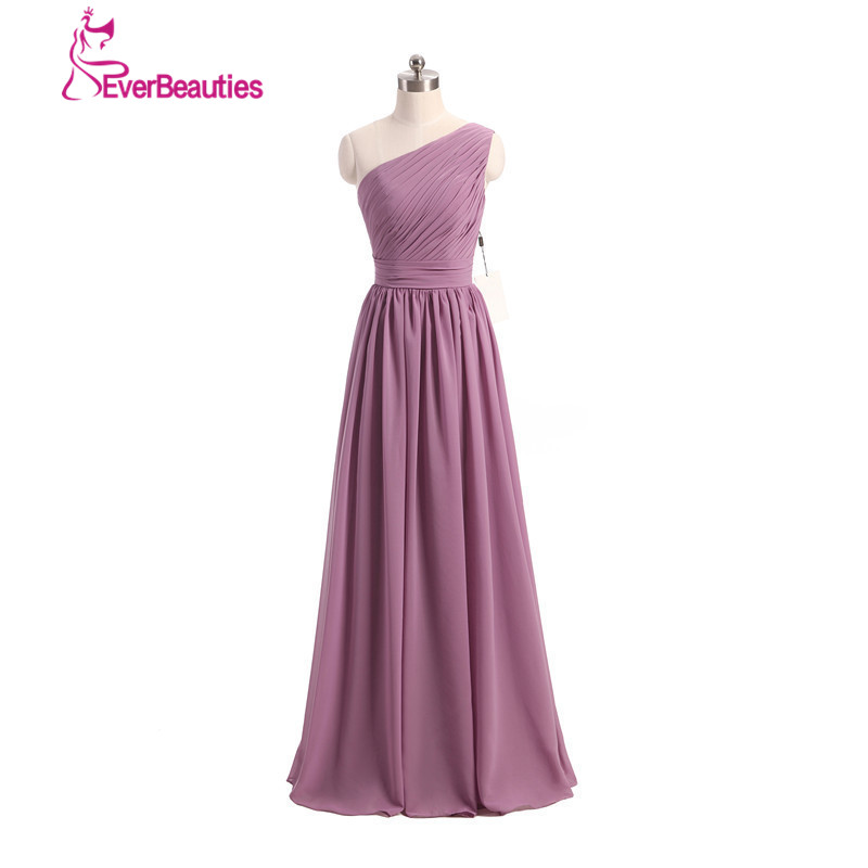 ロング花嫁介添人ドレスワンストラップファッション女性シフォン安いウエディングドレス2018 vestidosデmadrinhaレースアップバック