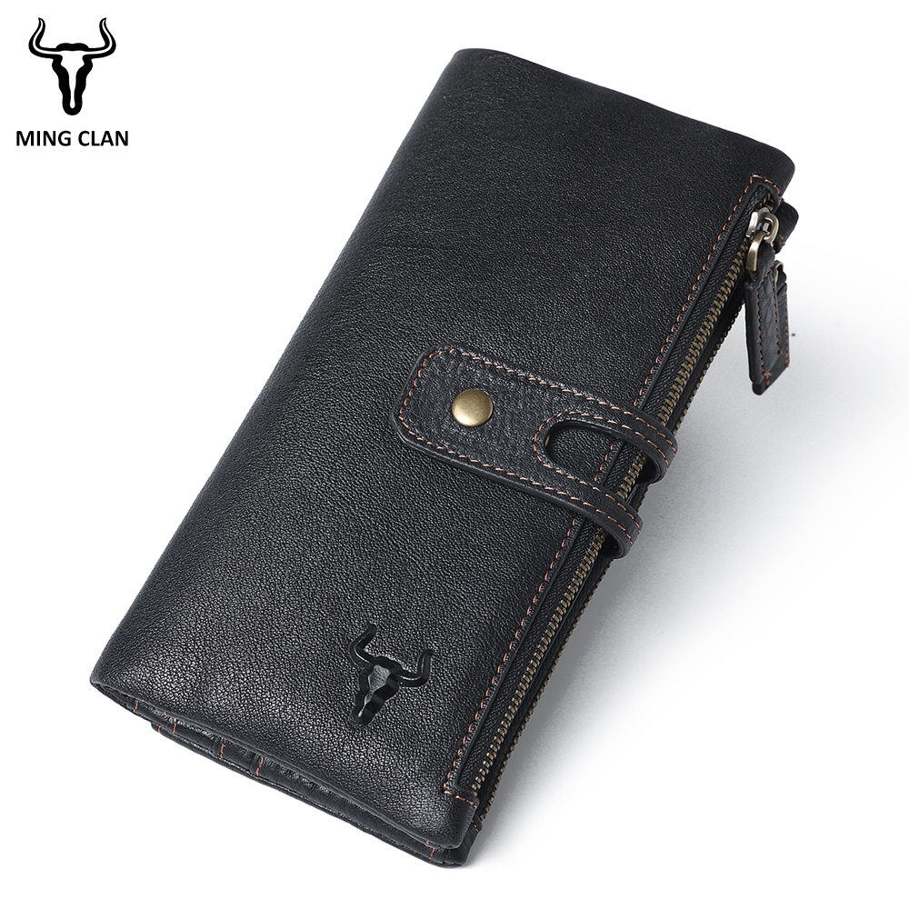 Mingclan Fashion Women Long Wallets Genuine Leather Cluth Purse SIM Card Slots RFID Blocking Mobile Phone Bags Lady Purse Female