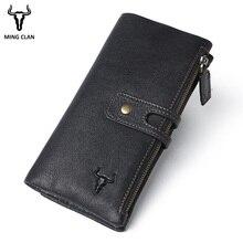 Mingclan Fashion Women Long Wallets Genuine Leather Cluth Purse SIM Card Slots RFID Blocking Mobile Phone Bags Lady Purse Female fashion luxury cluth bags ladies purse 100
