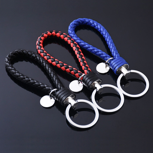 Fashion Unisex Braided Leather Rope Handmade Waven Keychain Leather Key Chain Ring Holder for Car Keyrings Men Women KeyChains