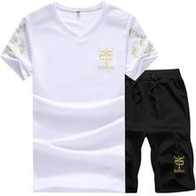 Nuevo 5XL hombre traje deportivo verano diseñador moda impresión Cool transpirable Casual pantalones cortos conjunto hombres de manga corta chándal AFC07