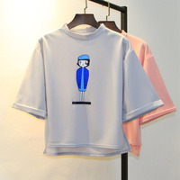 Solid Color Harajuku Style Women T Shirt Cartoon Printed Kwaii Cotton Loose Crop Tops Simple Fashion