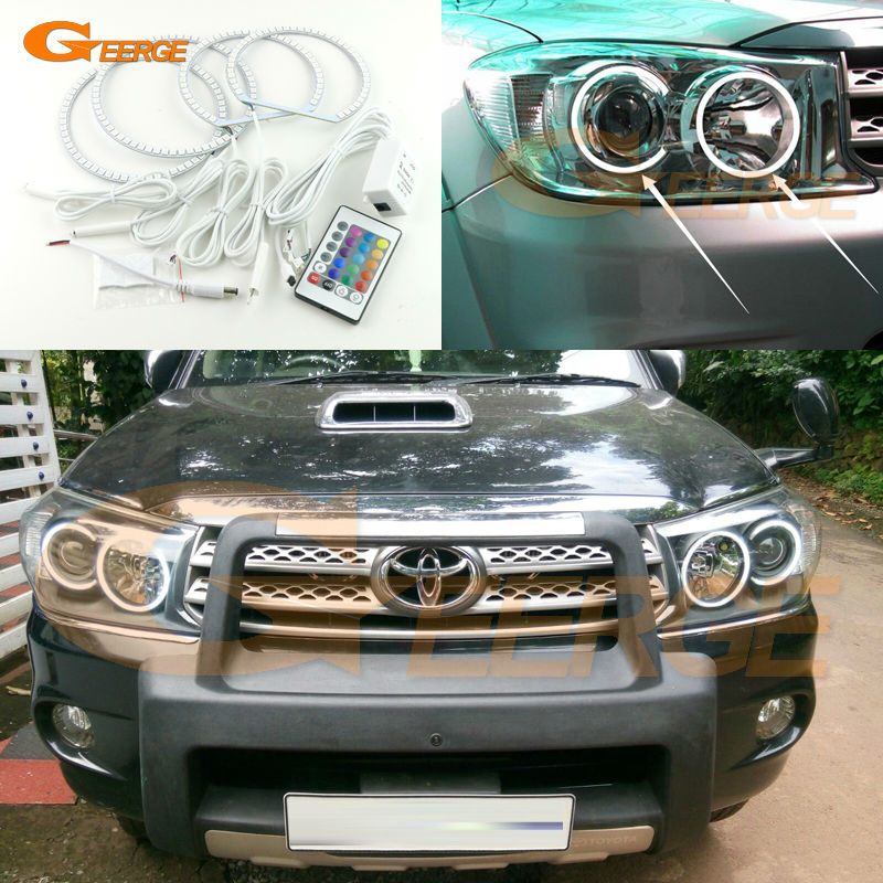 цена на For Toyota FORTUNER 2008 2009 2010 Excellent Angel Eyes Multi-Color Ultra bright RGB LED Angel Eyes kit Halo Rings