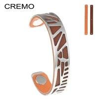 Cremo palmera pulseras chorlito manguito 14mm ancho Cham pulsera de cuero reversible bijoux Femme brazaletes pulseras de acero inoxidable