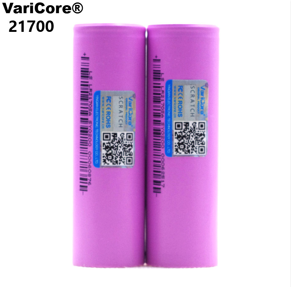 VariCore 21700 Rechargeable Li-Ion Battery 4000mAh 3.7 V 15A Power 5C Discharge 3-Cell Lithium Batt