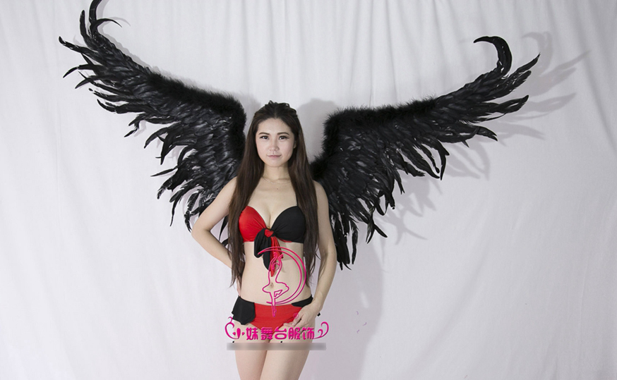 2017 new arrival black feather angel wings props catwalk show props cosplay supply