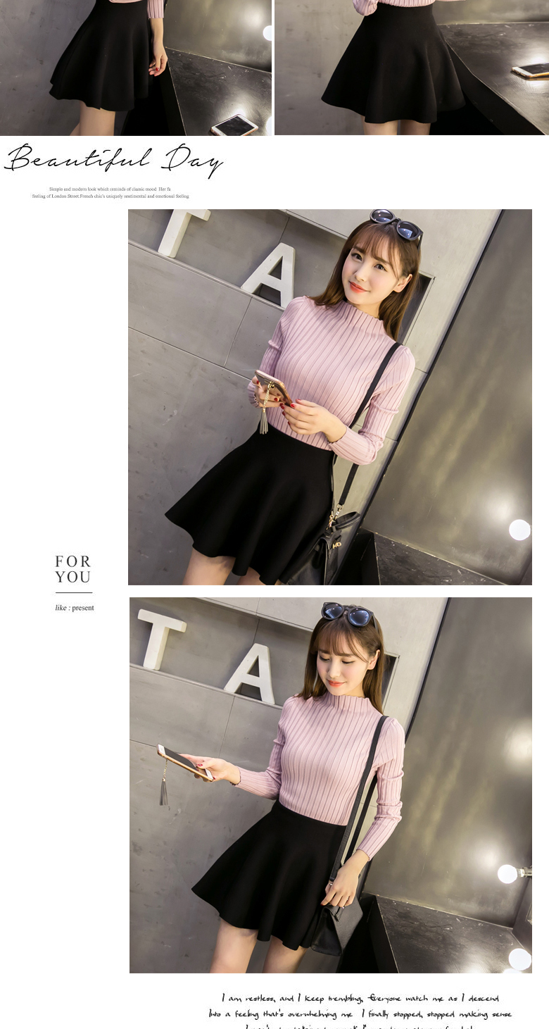 19 Autumn and winter New Korean Half turtleneck Sweater jacket Womens Long Sleeve Set head All-match knitted Sweater woman 12