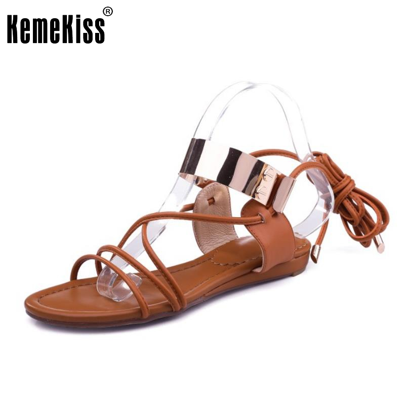 KemeKiss Sexy Lady Real Leather Flats Sandals Cross Strap Summer Shoes Flat Sandal Party Club Female Heel Footwears Size 34-40